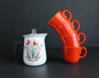 Vintage Coffee Mugs Franciscan Fire Dance Kaleidoscope Line Red/Orange  Coffee Cup Set Of 4
