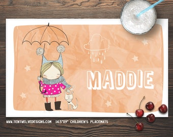 SWEET GIRL Personalized Placemat for Kids - Children's Placemat, Personalized Kid's Gift, Fast Shipping - light hair, dog, rain, cute girl
