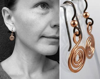 Hammered Copper Spiral Earrings - Koru Spiral -  Hammer Formed - Subtle Hammered Texture - Niobium Hooks