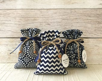 navy favor bags, 10 fabric rustic navy favor bags, wedding or baby shower