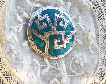 Turquoise & sterling silver pin/pendant southwest