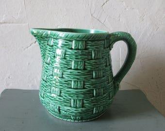 Antique french pitcher, Digoin Sarreguemines, Green ceramic, 1940, Vintage  kitchen, Home decor, Pichet, Broc, Café, Bistrot