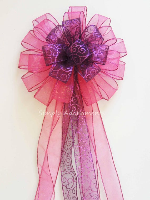 Purple  Pink Christmas Wreath bow Tree Topper Bow Purple Pink Wedding Pew Bow Blue Purple Pink Birthday Shower Party Decoration Bow Gift Bow