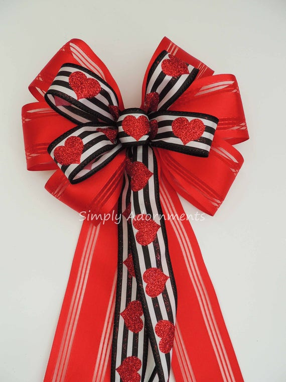 Black Red Valentine Wreath Bow Black Stripes Glitter Red Heart Valentine Bow Black Valentine Heart Wreath Bow Red Black Valentine Gifts Bow