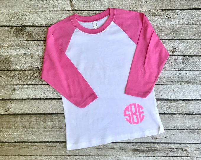 Girls Monogram Raglan Shirt, Monogrammed Baseball T shirt, Monogrammed Three Quarter Sleeve, NL3352