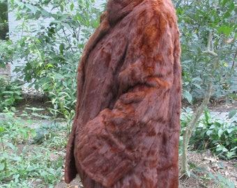 vintage red mink fur coat short size 10