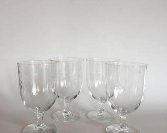 Four Vintage 30s SASAKI Star Glasses Set