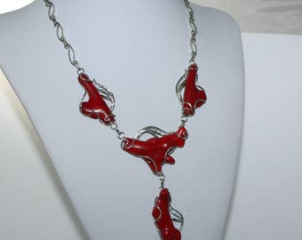 Red coral necklace, Handmade necklace