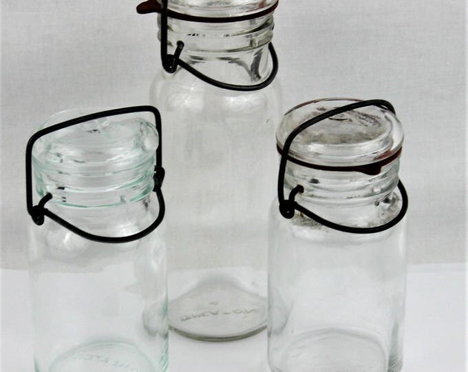 Vintage Clear Glass Storage Bottles with Glass Lids and Wire Bails Wheaton & Kimble