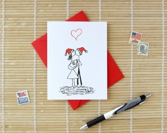 Canoodle Doodles No. 26 - Family with Baby - Christmas Version // Romantic Holiday New Parents or First Christmas card for Him or Her