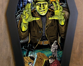Frankenstein Monster coffin framed print.