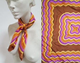 1960s / 1970s Wavelength Brown and Purple Printed Scarf