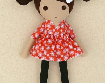 Fabric Doll Rag Doll Brown Haired Girl in Orange and White Floral Dress with Black Polka Dotted Shoes