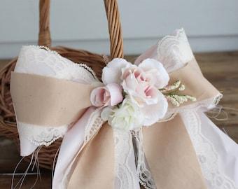 Flower Girl Basket, Rustic Chic Flower Girl Basket, Barn Wedding, Blush Flowers