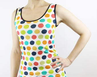 colorful summer top dots cotton