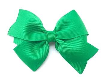 4 inch green hair bow - green bow, 4 inch bows, pinwheel bows, girls hair bows, girls bows, toddler bows, green hair bows, hair bows, bows