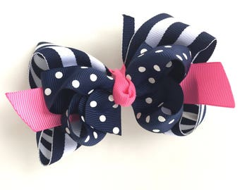 Navy, white & pink double boutique hair bow - navy boutique bow, 4 inch bows, boutique bows, girls hair bows, girls bows, toddler bows