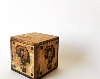 Mario Question Block - Wood Burned