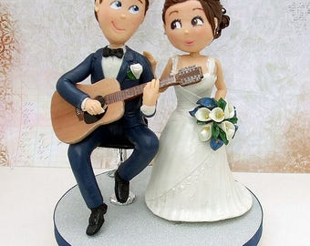 guitar player wedding cake topper guitar player topper etsy 15015