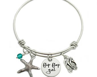 Flip Flop Girl Bangle Bracelet - Engraved Jewelry - Expandable Bangle - Beach Jewelry - Flip Flop - Sea Glass - Summer Beach Jewelry - 1008