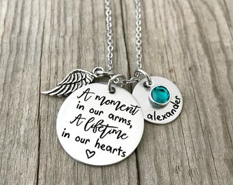 Personalized Memorial Necklace - A Moment In Our Arms,  A Lifetime In Our Hearts - Infant Loss Jewelry- Miscarriage Necklace - Keepsake 1488