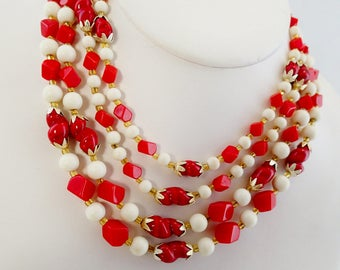 """FREE Shipping Vintage Red and White Quad 4 Strand Glass Beaded Necklace 50s Beads 17"""" Pressed Glass"""