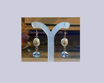 blue crystal dangling earrings freshwater pearl earrings pearl and crystal earrings hypoallergenic earrings nickel free earrings