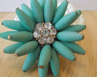 3 Row White Sea Shell Pearl Stretch Cuff Bracelet with a Big Turquoise Flower and Clear Rhinestones