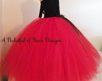 Black and Red Flower Girl Dress, Girls Formal Dress