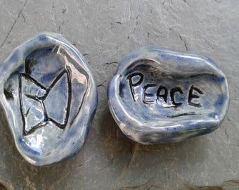Set 2 Ceramic Blue Worry Stones Norse PEACE Runestone Anxiety Relief Pocket Palm Pebbles Viking Power Meditation