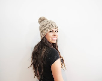 Beige Pom Pom Hat. Chunky Pom Pom Beanie. Light Tan Beanie. Womens Pom Pom Hat. Womens Winter Hat. Beige Crochet Hat. Taupe Beanie Hat.