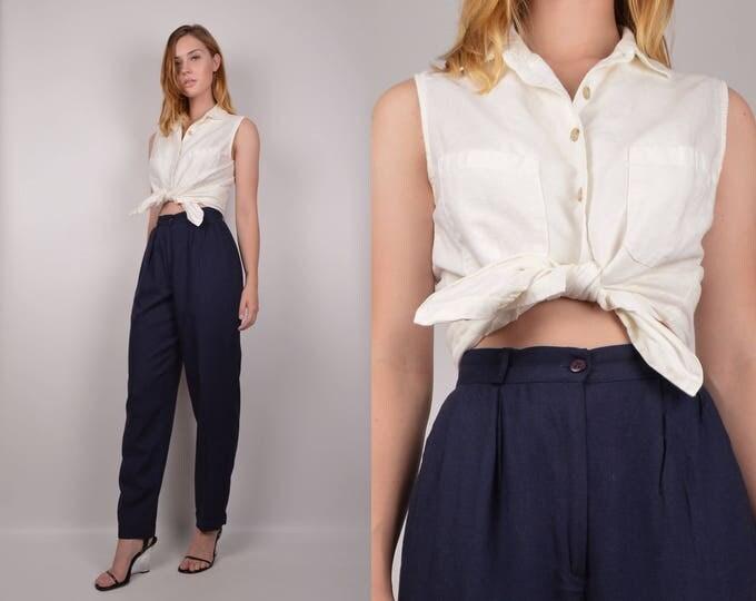 Vintage White Linen Sleeveless Shirt