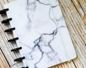 White Marble Personalized Discbound Journal Notebook with choice of Dot Grid, Graph, or Lined Pages   Custom Bullet Journal