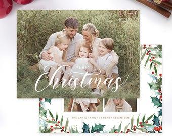 Christmas Photo Card, Christmas Card Template, Christmas Photography Template, Christmas Card Printable, Holiday Photo Cards HC318
