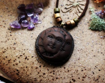 Sun & Moon Necklace Handcrafted Clay...