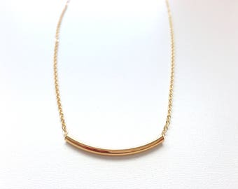 Gold Tube Necklace - Curved Bead necklace Necklace - Modern Necklace - Minimalist jewelry - Aldari Jewelry Designs