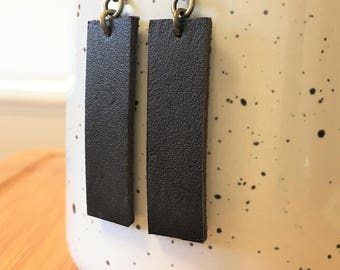 Earrings, Leather Dangle Earrings, Inspired by Joanna Gaines