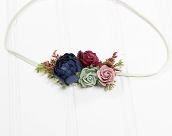 Autumn Splendor - beautiful dainty flower headband in burgundy, wine, navy blue, sage, olive green, dusty pink, blush and cream  (RTS)
