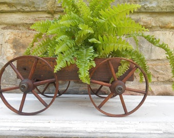Antique Wood Toy Wagon Cart Unique Centerpiece Pland Holder Wooden Wheels Primitive Rustic Wagon with Removable Box Reclaimed Wood