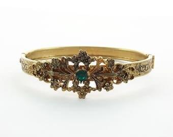 Antiqued Gold Emerald Bangle- BR0025