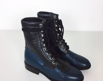 Vintage Handmade Gorgeous Two Tone Black Blue Leather Southwestern Roper Riding Boots // Women's US 5 5.5 6
