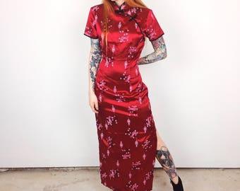 Satin Phoenix Birds and Flowers Chungsam Mandarin Chinese Collar Maxi Dress with High Slits  // Women's size Medium M Small S