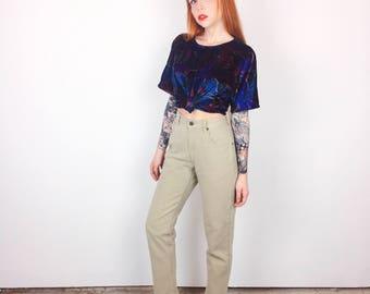 90's High Waisted Khaki Tan Skinny Leg Petite Mom Jeans // Women's size 24 XS 00 0 Short