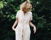 Linen Jumpsuit - Linen Kimono Jumpsuit - Ivory Linen Jumpsuit - Short Sleeve Linen Jumpsuit - Overall - Ivory Linen - Handmade by OFFON