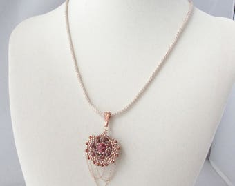 Crystal Rivoli Pendant with Swirling Beaded Bezel and Looped Chains on Capture Cord Necklace