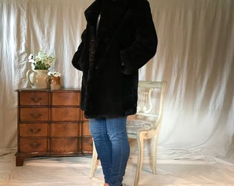 50s Black Mouton Fur Coat, Winter Coat, Vintage Retro Fashion, Silk Lined Mouton Coat