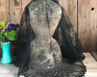 Antique Silk Chantilly Lace Shawl, Large Black Mantilla or Crinoline Shawl, Grapevine and Floral Pattern, ca 1850
