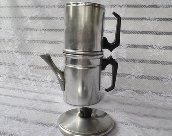 Flip Drip Vintage Italian Expresso Coffee Maker, Aluminum Metal Coffee Maker, Expresso Coffee Maker, Stove Top Coffee Maker, Strong Coffee