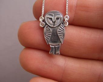 Tiny owl necklace made in sterling silver