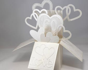 3D Ivory Wedding Anniversary Card, Box Card with Hearts